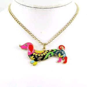 Colorful Dachshund Necklace Betsy Johnson Style